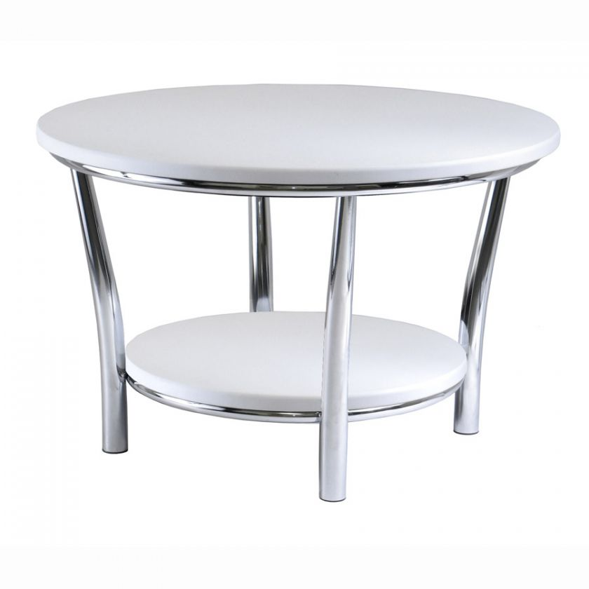 Maya Large Round Top White Coffee Table MDF / Metal NEW