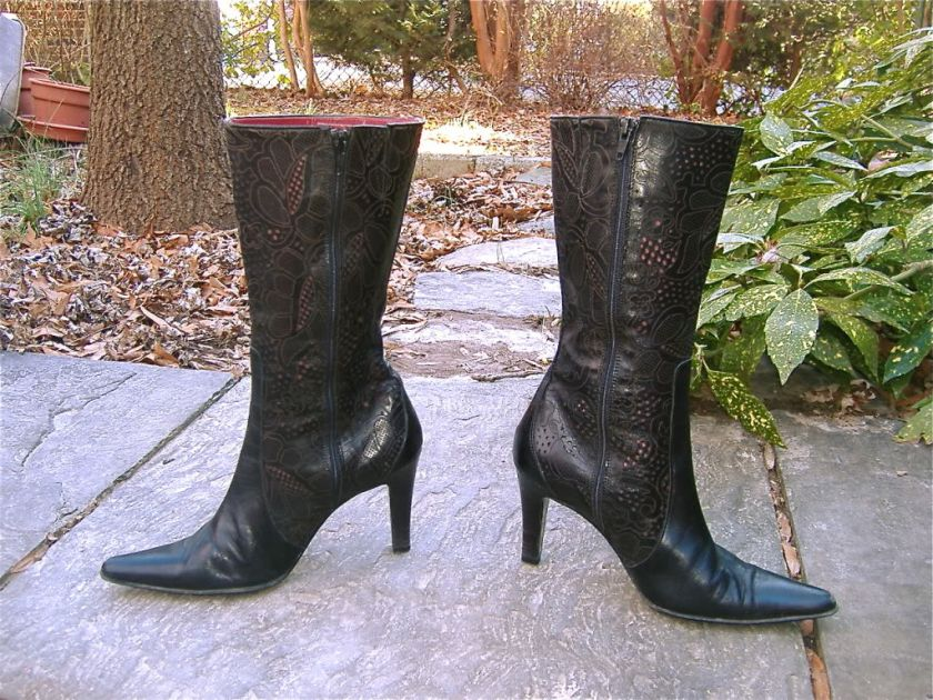 SIZZLING DETAILS Italian Designer Tooled Black Leather Mid Calf Boots