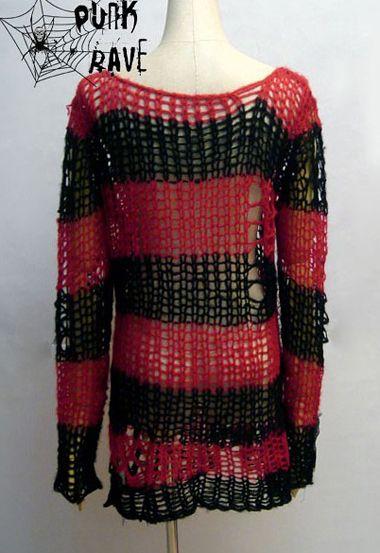 Visual Kei Punk Gothic kimono lolita nana black red coat Sweater KNIT