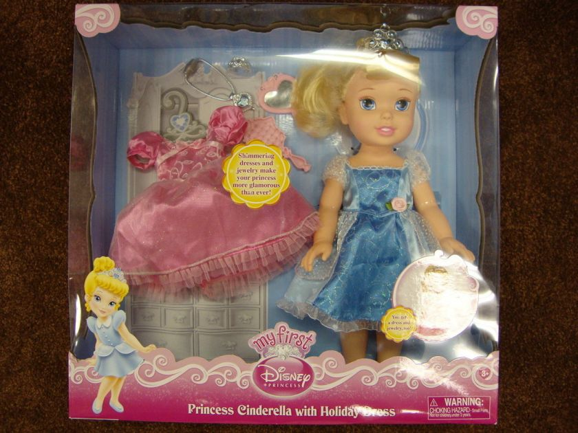 My First Disney Princess Cinderella Doll with Holiday Pink Dress and