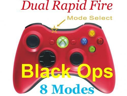 Xbox 360 Modded Dual Rapid Fire Controller RED 8 Mode