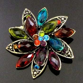 SHIPPING antiqued rhinestone crystal flower brooch pin bouquet