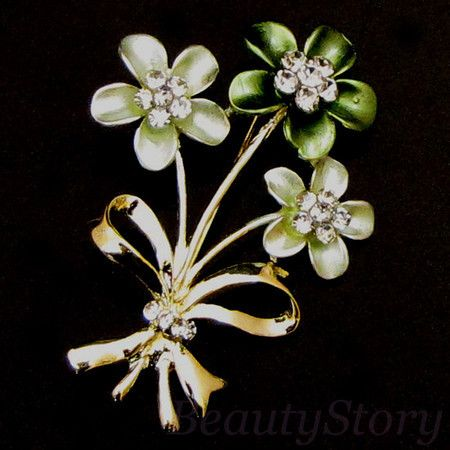 Item  rhinestone crystal flower brooch pin bouquet
