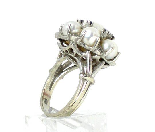 VINTAGE 14k WHITE GOLD, DIAMOND, PEARL & SAPPHIRE RING