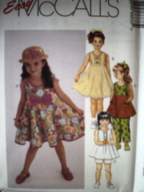 UNCUT McCalls Pattern Girls Dress Top Pants Shorts 8683
