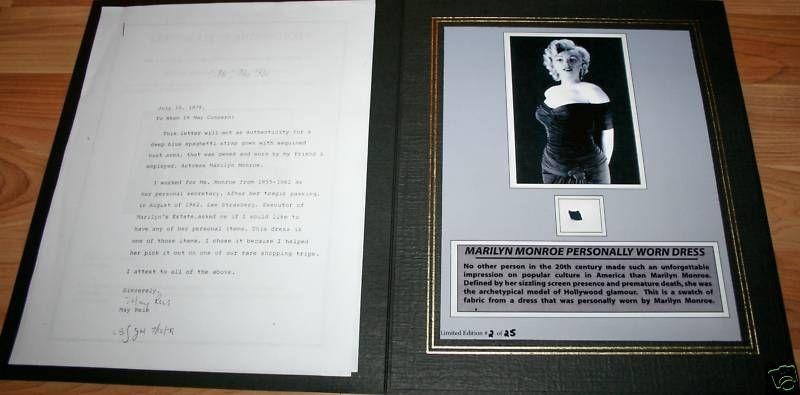 Movie Star Marilyn Monroe Personally Worn Dress w/ COA